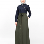 Flared Contrast Skirt Look Abaya
